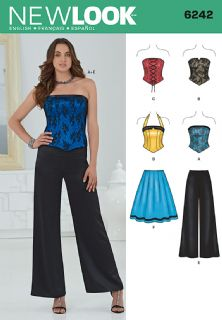 6242 New Look Pattern: Misses' Corset Top, Trousers and Skirt